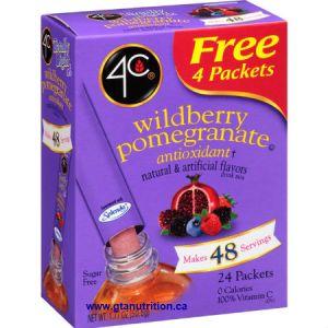 4C Totally Light 2 Go Wildberry Pomegranate Drink Mix Stix 24 pk. Zero Calories, Zero Carbs, Sugar Free, Low Sodium