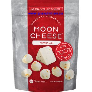 Moon Cheese Natural Crunchy Cheese Snack Pepper Jack 56g. Only 100% Cheese. 4g Protein.