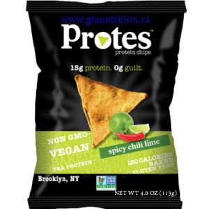 Protes Protein Chips Spicy Chili Lime 113g. It is Made With Pea Protein. 15g Protein 0g Guilt. Kosher