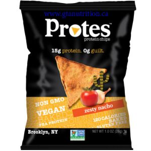 Protes Protein Chips Zesty Nacho 28g. It is Made With Pea Protein. 15g Protein 0g Guilt. Kosher