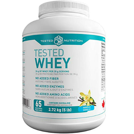 Tested Nutrition Whey Protein - Vanilla - 5lbs. Available in six flavours: Chocolate, Vanilla, Rocky Road, Peanut Butter, Cookies & Cream, Unflavoured.
