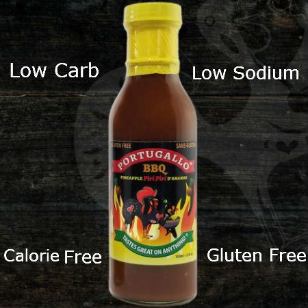 Portugallo Sauce Pineapple Piri Piri BBQ 355ml | Low Carb, Gluten Free, Low Sodium, Calorie Free, Halal