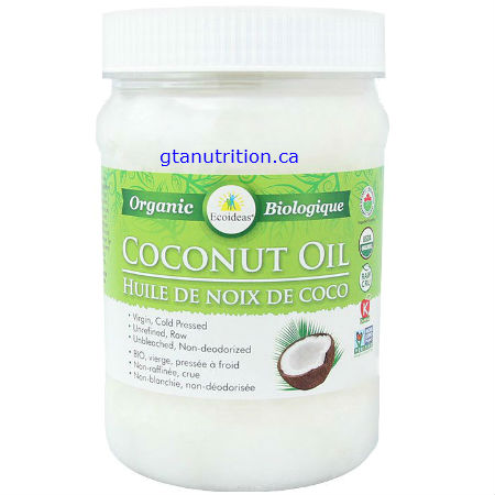 """Ecoideas Raw Organic Coconut Oil 444ml. Not all saturated fat is bad! Coconut oil is cholesterol and trans fat free and rich in medium-chain """"good fats. Ideal Cooking oil for Keto Diet. Kosher"""