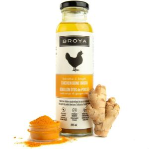 Broya Organic Turmeric & Ginger Chicken Bone Broth 295ml. Made with organic ingredients, Non-GMO, Gluten-Free, Paleo-Friendly, Not from concentrate
