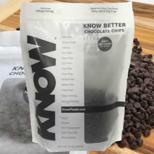 KnowFoods Know Better Chocolate Chips 16oz . Delicious Tastes Great Natural. NON GMO, Dairy Free, Nut Free, Soy Free, Grain Free, Gluten Free, Wheat Free, Yeast Free, Paleo Friendly, Allergy Friendly, Sugar Free, Zero Carb, Diabetic Friendly.