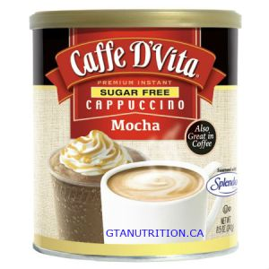 Caffe D Vita Sugar Free Cappuccino Mocha 8.5oz. Low Carb, Sugar Free, Gluten Free, No Hydrogenated Oil, No Cholesterol, Diabetic Friendly, 99% Caffeine Free, Kosher.