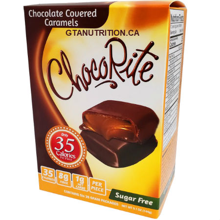 ChocoRite Value Pack Chocolate Covered Caramels Box of 6 - 24g bars | 35 Calories per one piece, 2g Fat Each! Only 70 calories and 2 net carbs per package! Great for all diets including Keto, Weight Watchers, South Beach, Atkins and Dr. Poon Diet! - Kosher