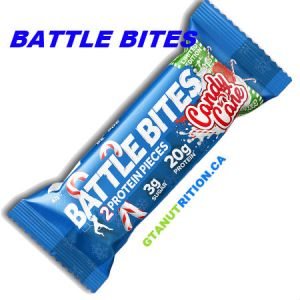 Battle Bites Protein Bar Candy Cane 62g | Low In Sugar 1.5g per bits, GMO FREE, No Hydrogenated Oil, Tastiest Low Carb Protein Bar In The Market - Made In Britain