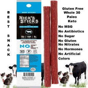 Nick's Sticks 100% Grass-Fed Beef Snacks Sticks 48g | The grass-fed beef stick. Our pride and joy. Nick's Sticks beef sticks are chock-full of sunshine and free-range living. You can positively taste the nutritiousness (or is that the deliciousness?) of our staple product. Your brain says order it for being a clean protein, dye-free, nitrate-free, hormone-free, sugar-free, antibiotic-free snack. Your tummy will keep you coming back for the pure pleasure of its beefy taste.