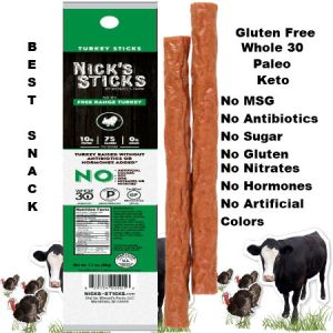 Nick's Sticks Free Range Turkey Snacks Sticks 48g | Clean protein, Dye-free, Nitrate-free, Hormone-free, Sugar-free, Antibiotic-free snack. Your tummy will keep you coming back for the pure pleasure of its turkey taste.