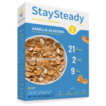 Nutritious living StaySteady Cereal Vanilla Almond 283g. High Protein, High Fiber, Zero Cholesterol, Low Fat/No Trans Fat, Kosher