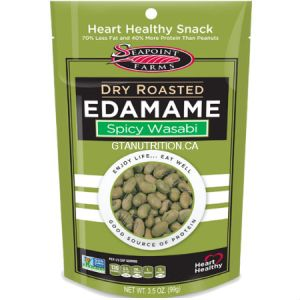 Seapoint Farms Dry Roasted Edamame Spicy Wasabi 4 oz. High Protein, Low carb, High Fiber, Low Salt, Kosher
