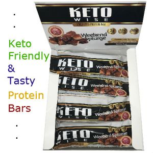 HealthSmart Foods Keto Wise Weekend Splurge Protein Bar 64 - Introducing Keto Wise Uncoated High Protein Bars. These large 64g protein bars deliver a very clean, delicious taste with only the highest quality Whey Protein and Milk Proteins! These bars also contain only zero glycemic sweeteners that won't raise your blood sugar or stall weight loss. Further, at only 180 calories, they deliver 18g protein. Whether you need blood sugar control or weight loss, KetoWise new exclusive sugar-free snacks keeps your blood sugar low and your cravings satisfied. Kosher.