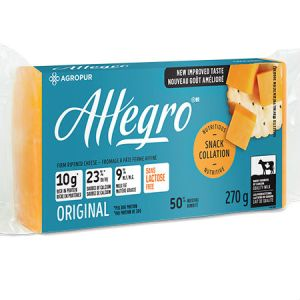 Agropur Allegro Cheese Cloured 270g l Lactose free, Rich in protein, Source of calcium, New improve taste, 9% Milk fat, Quality milk...