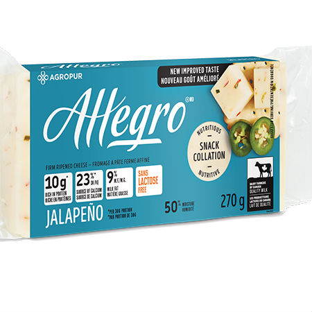 Agropur Allegro Cheese Jalapeno 270g l Lactose free, Rich in protein, Source of calcium, New improve taste, 9% Milk fat, Quality milk...