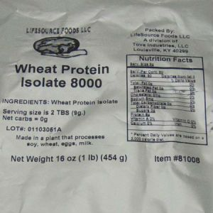 Lifesource Wheat Protein Isolate 8000 l 1lb Zero carb, Very low sodium, Fat free, Chelosterol free, Very low in clorie, High protein, NON GMO...