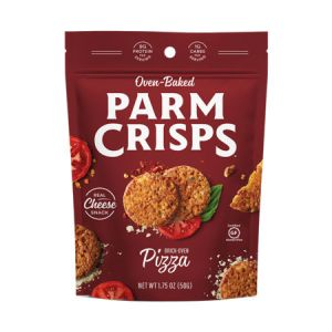 Oven Baked Parm Crisps Pizza 50g. Made From 100% Cheese. No Artificial Flavors, Colors or Preservatives.