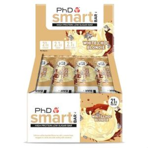 PhD Smart Bar - White Chocolate Blondie 64g. Smart Bar contains a super-soft protein centre that is coated in gooey caramel and protein crispies which truly delivers that satisfying crunch texture when you take a bite.