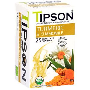 Tipson Organic Turmeric & Chamomile Tea Free Herbal Infusions, USDA Organic, Zero carb, Low calorie, Fat free, Sugar free..
