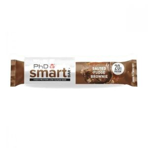 PhD Smart Bar - Salted Fudge Brownie 64g. Smart Bar contains a super-soft protein centre that is coated in gooey caramel and protein crispies which truly delivers that satisfying crunch texture when you take a bite