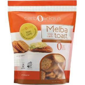 Carbolicious Melba Low Carb Toast Plain 4oz - All Natural, 1g net carb, High in protein. Sugar free, starch free and trans fat free....