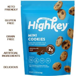 High Key Low Carb Mini Cookies Chocolate Chip 56.6g. Keto friendly, low carb, High protein, gluten free, grain free, No artificial flavours...