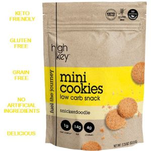 High Key Low Carb Mini Cookies Snicker Doodle 56.6g. Keto friendly, low carb, High protein, gluten free, grain free, No artificial flavours...