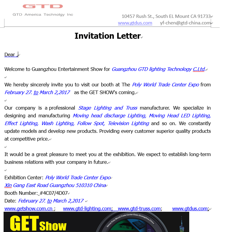 Invitation letter to visit exhibition booth inviview gtd guangzhou entertainment show invitation america stopboris Choice Image