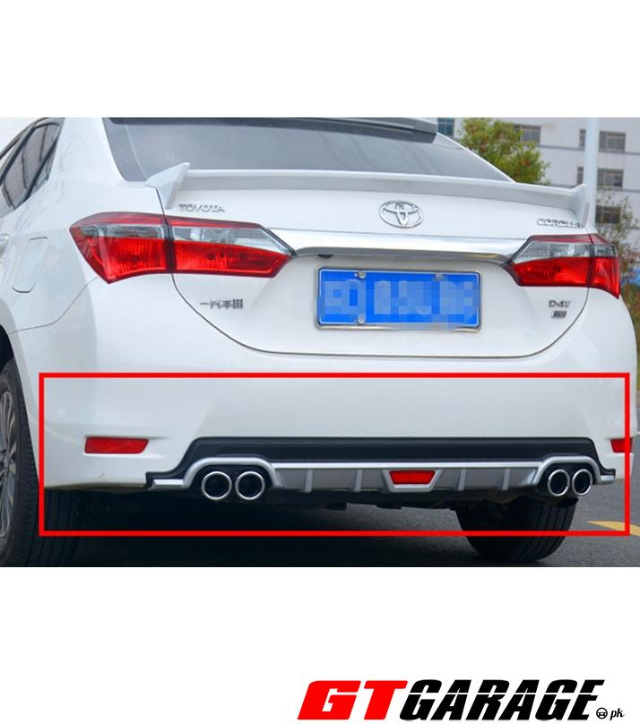 dual exhaust diffuser with reflector for toyota corolla 2014 2020 black silver