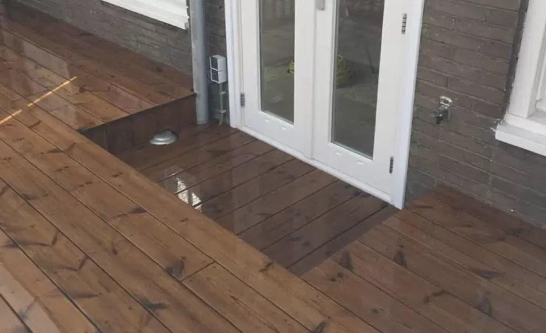 Buitenvloer thermisch grenenhout
