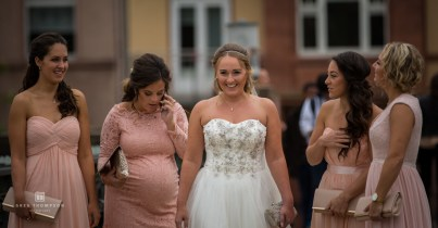 Bride and bridesmaids walking to ceremony in Frankfurt.