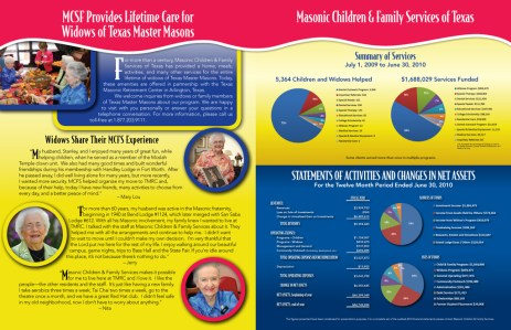 Annual reports are a big part of a 501c3 to inform and provide data for the investors that continue to support valuable services like the ones provided by Masonic Home and Family Services (formerly Children and Family Services of Texas)