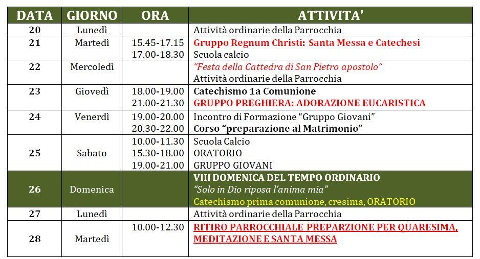 Calendario Attivita.Calendario Attivita Parrocchiali 20 28 Febbraio 2017