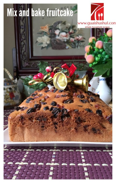 Simple Mix and Bake Fruit Cake With Royal Icing (简易杂果蛋糕)