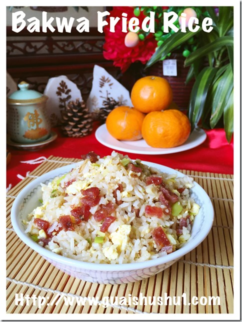 Bakwa and Leek Fried Rice (肉干大蒜炒饭)