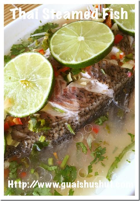 Thai Steamed Fish with Lime (Pla Neung Manao or ปลากะพงนึ่งมะนาว 泰式柠檬蒸鱼 )