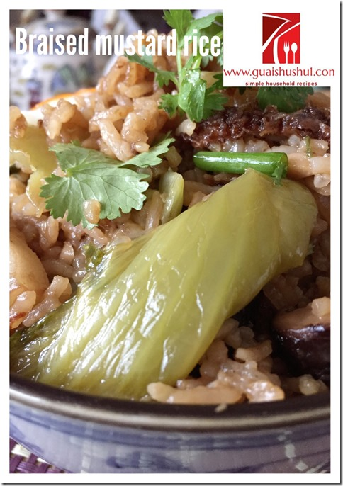 Mustard Green Stewed Pork Braised Rice (Kai Choy Fan or Tua Cai Png) (芥菜焖饭)