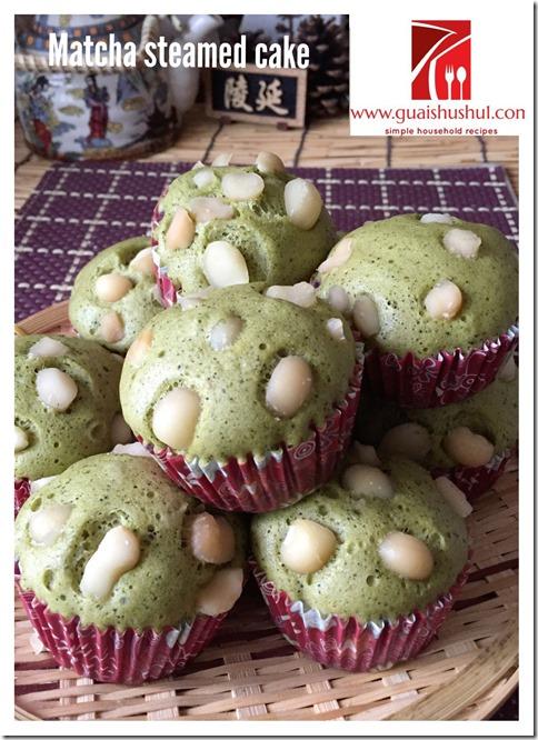 Matcha Red Bean Steamed Cake (绿茶红豆蒸鸡蛋糕)