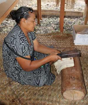 Tapa process at FestPac 2012 Solomon Islands. Photo by Ron J. Castro.