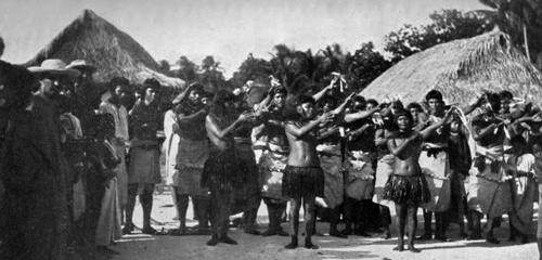 I-Kiribati dancers, photographed by Robert Louis Stevenson c. 1889 and courtesy of Jane Resture.