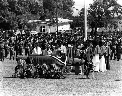 First Vanuatu Flag raising at Independence Park grandstand, 30 July 1980. Photo from Vanuatu Daily Digest.