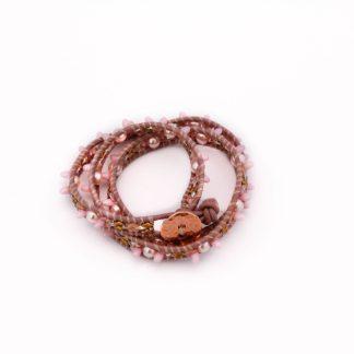 Relief, roze, wikkelarmband, armband, pink, wrapbracelet, bracelet, leder, leather, beads, kralen