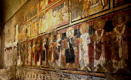 Several stories of frescoes in Santa Maria Antiqua, Rome