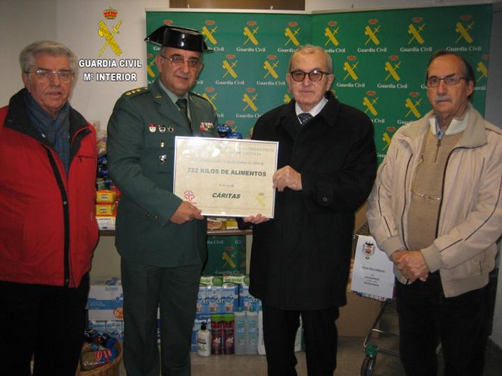 La Guardia Civil hace entrega de 722 kilos de alimentos a beneficio de Cáritas