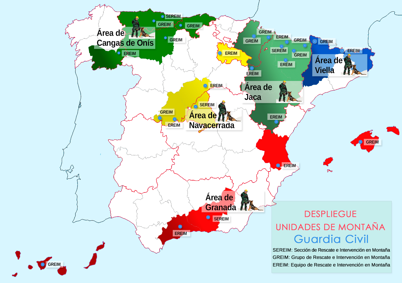 Mapa despliegue Unidades de Monataña de la Guardia Civil