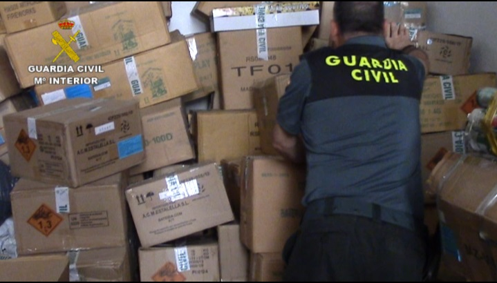 La Guardia Civil desmantela un taller pirotécnico ilegal en Murcia