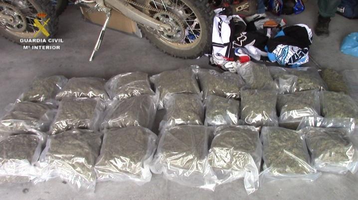 La Guardia Civil detiene a nueve individuos relacionados con los Ángeles del Infierno e incauta 100 kg de marihuana