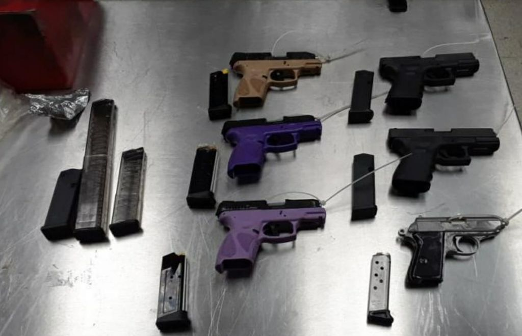 The guns and ammunition seized by members of the US Customs and Border Protection (CBP) in Puerto Rico which were bound for Trinidad and Tobago last week.