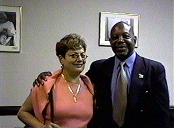 Former President of the Hispanic Court Officers Society, Rachel Villarini with President Eugene Jordan.