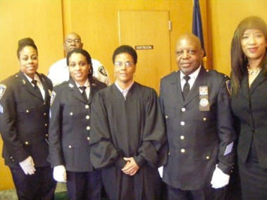 Installation Ceremony of the Executive Board of the Guardians Association of the New York State Courts, Inc. Pictured from left to right, Sgt. Niccole H. Burrell, 1st Vice President; Lt. David  Collins, Sgt. At Arms; Sgt. Jestina A. Collins, 2nd Vice President; the Honorable Pauline Mullings, Officiating Judge; Lt. Eugene Jordan, President; and SCC Gwendolyn Fuller, Treasurer.